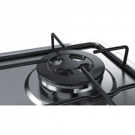 Plita incorporabila Bosch PGH6B5B80, Gaz, 4 arzatoare, Arzator economic, Arzator wok, 60 cm, Inox4