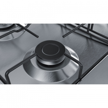 Plita incorporabila Bosch PGH6B5B80, Gaz, 4 arzatoare, Arzator economic, Arzator wok, 60 cm, Inox1