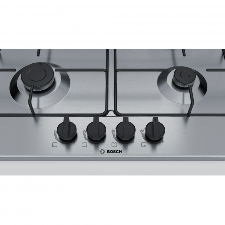 Plita incorporabila Bosch PGH6B5B80, Gaz, 4 arzatoare, Arzator economic, Arzator wok, 60 cm, Inox2