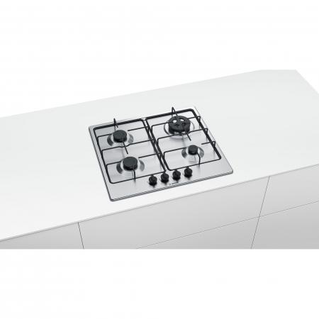 Plita incorporabila Bosch PGH6B5B80, Gaz, 4 arzatoare, Arzator economic, Arzator wok, 60 cm, Inox3