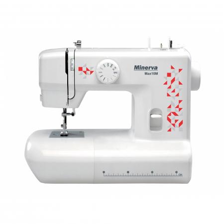 Masina de cusut Minerva Max10M, 10 programe, 800 imp/min, Alb/Rosu0