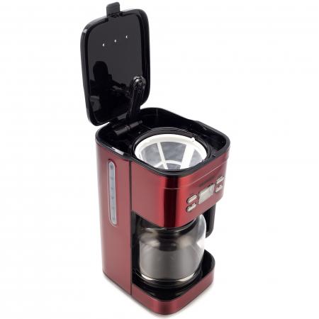 Cafetiera Daewoo DCM1000R, 1000 W, 1.5 l, Filtru permanent, Timer 24 ore, Indicator nivel apa, Design ergonomic, Rosu/Negru [2]