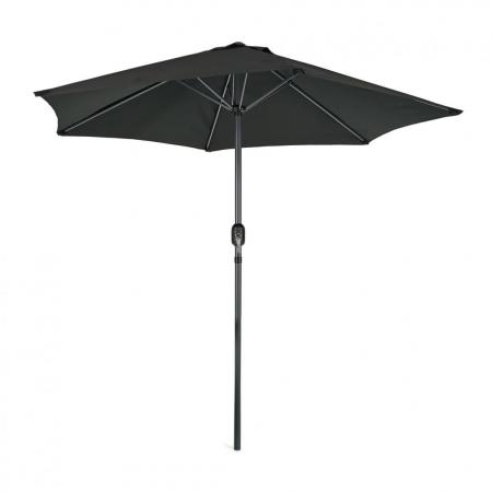 Umbrela soare / gradina, Heinner, LFUD001, rotunda, mecanizm rabatare, 2.4 m, negru0