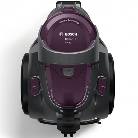 Aspirator fara sac Bosch 3A BGC05AAA1, 700W, 1.5 l, Filtru igienic PureAir, Easy Clean, Negru/Mov [0]