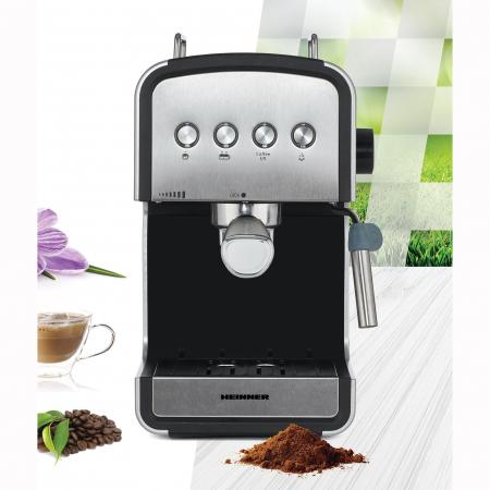 Espressor semi-automat Heinner HEM-B2012SA, 20 bar, 850W, rezervor apa detasabil 1.2l, optiuni presetate pentru espresso lung/scurt, filtru din inox, plita pentru mentinere cafea calda, decoratii inox2