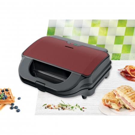 Sandwich maker Heinner SM-2H900BKS, 900 W, placi XL, 2 placi detasabile antiadezive: waffle, grill, Negru/Rosu2