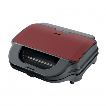 Sandwich maker Heinner SM-2H900BKS, 900 W, placi XL, 2 placi detasabile antiadezive: waffle, grill, Negru/Rosu0