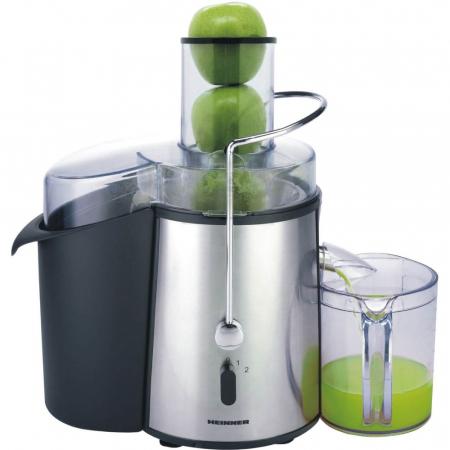 Storcator de fructe si legume Heinner XF-1000SS, 1000 W, Recipient suc 1 l, Recipient pulpa 2 l, 2 Viteze, Tub de alimentare 75 mm, Inox0