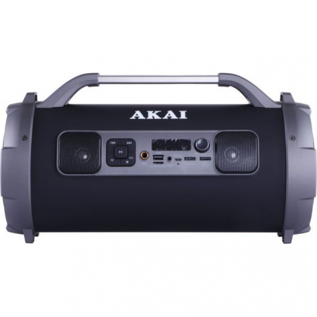 Boxa portabila cu trei difuzoare bazooka AKAI ABTS-13K cu BT , USB, Micro SD card , FM Radio , Aux-in 3.5mm ,Functie Karaoke ,Baterie reincarcabila, Lumini Led , Maner aluminiu0