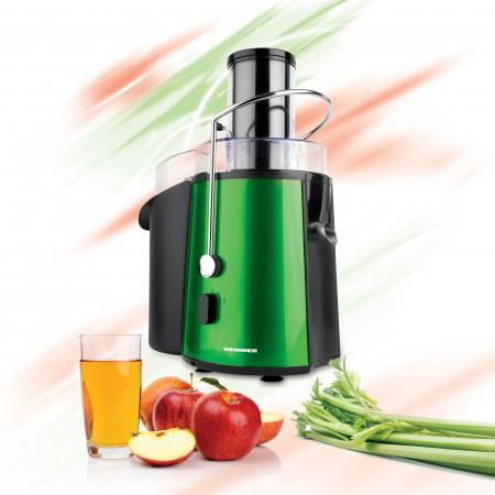 Storcator de fructe si legume Heinner XF-1000GRSP, 1000 W, Recipient suc 1 l, Recipient pulpa 2 l, 2 Viteze, Tub de alimentare 75 mm, Verde Metalic1