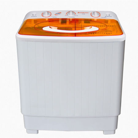 Masina de spalat rufe semiautomata Vortex VO1500, Spalare 6 kg, Stoarcere 5 kg, Alb/Portocaliu0