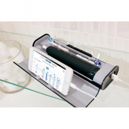 Periuta de dinti electrica Oral-B Genius 9000, SmartRing, 6 programe, 4 capete, Conectivitate Bluetooth, Trusa de calatorie cu suport pentru smartphone, Negru5