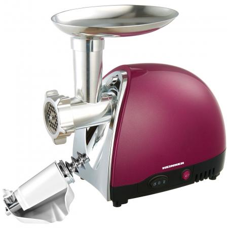 Masina de tocat Heinner MG1500TA-BG, 1600 W, Accesoriu pentru rosii si carnati, Cutit inox, Visiniu sidefat1