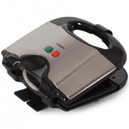Sandwich maker Daewoo DSM20X, 800 W, placi neaderente, indicator luminos, maner Cool Touch, clapeta de blocare, Inox/Negru