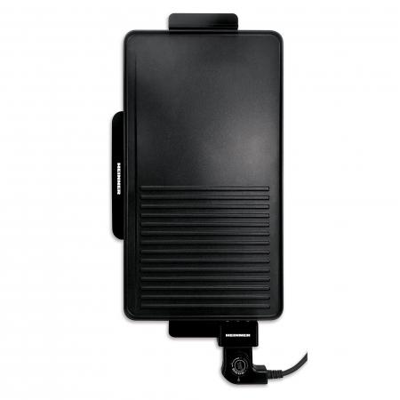 Gratar electric Heinner HEG-F2000GT, 2000 W, placa fixa cu invelis antiadeziv, temperatura reglabila, Negru0