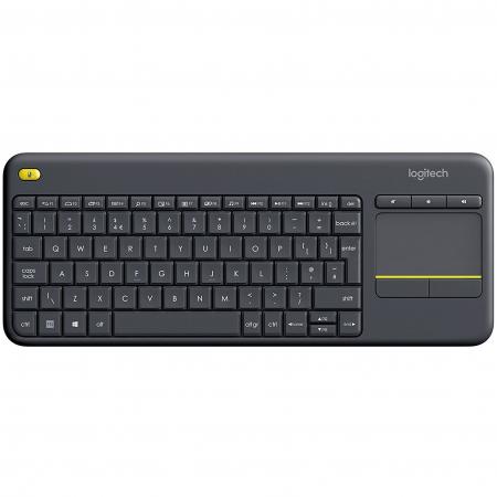 Tastatura Wireless Logitech K400 Plus Dark, Touchpad, USB, Black0