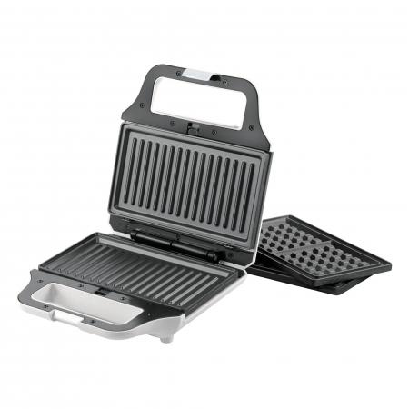 Sandwich maker Heinner SM-2H700WH, 700 W, 2 placi detasabile antiadezive: waffle, grill, Alb1