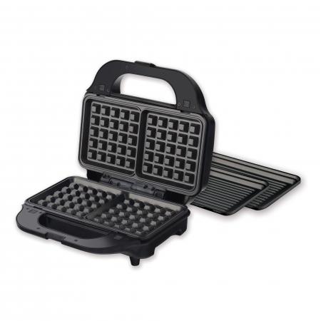 Sandwich maker Heinner SM-2H900BKS, 900 W, placi XL, 2 placi detasabile antiadezive: waffle, grill, Negru/Rosu1