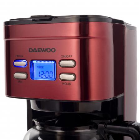 Cafetiera Daewoo DCM1000R, 1000 W, 1.5 l, Filtru permanent, Timer 24 ore, Indicator nivel apa, Design ergonomic, Rosu/Negru [3]