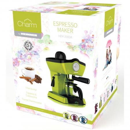Espressor manual Heinner Charm HEM-200GR, 800W, 250ml, 3.5 bar, Verde1