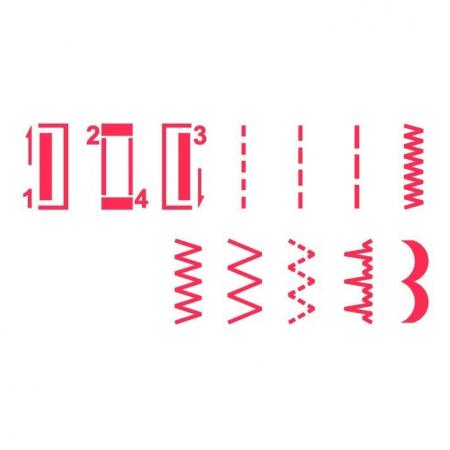 Masina de cusut Minerva Max10M, 10 programe, 800 imp/min, Alb/Rosu2