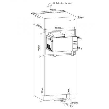 Cuptor cu microunde incorporabil HEINNER HMW-23BI, 23 l, 800 W, Digital, Grill, Inox + Kit instalare1