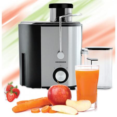 Storcator de fructe Heinner HSF-500S, 500W, Recipient pulpa 1.2l, Recipient suc 350 ml, 2 trepte de viteza, Inox1