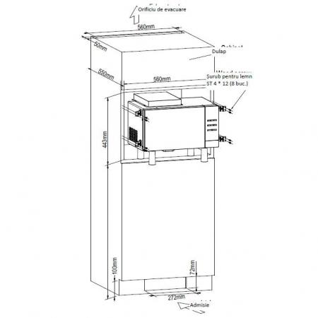 Cuptor cu microunde incorporabil Heinner HMW-23BI-BK, 23 l, 800 W, Digital, Timer, Grill, Sticla neagra1