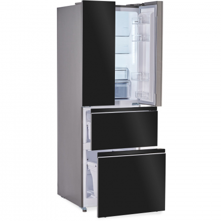 Combina frigorifica French Door Heinner HCFD-H300GBKA+, 300 l, Full No Frost, A+, Display Touch, H 186 cm, Sticla neagra3