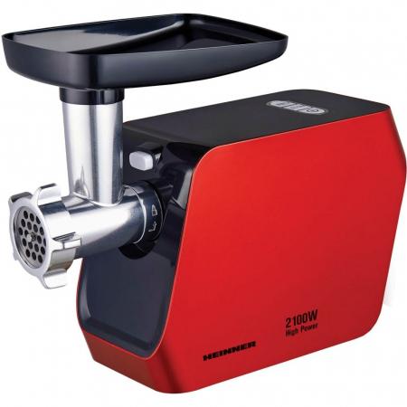 Masina de tocat Heinner MG-2100RD, 2100W, Accesoriu rosii, Accesoriu carnati, Cutit inox, Rosu0