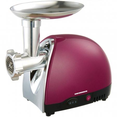 Masina de tocat Heinner MG1500TA-BG, 1600 W, Accesoriu pentru rosii si carnati, Cutit inox, Visiniu sidefat0