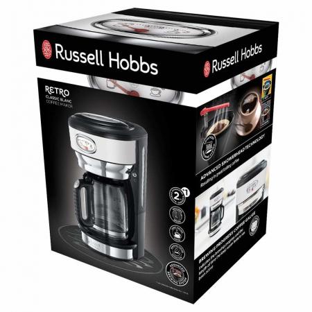 Cafetiera Russell Hobbs Retro Classic Blanc 21703-56, 1000 W, 1,25 l, Tehnologie avansata cu dus, Functie pause and pour, Mentinere la cald, Alb/Inox5