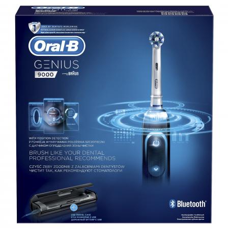 Periuta de dinti electrica Oral-B Genius 9000, SmartRing, 6 programe, 4 capete, Conectivitate Bluetooth, Trusa de calatorie cu suport pentru smartphone, Negru0