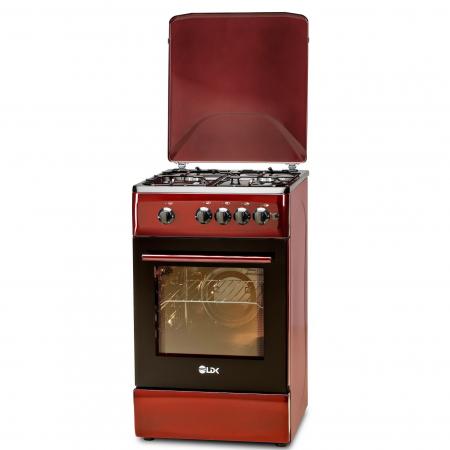 Aragaz LDK 5060 A BORDO RMV, Gaz, 4 arzatoare, Capac metalic, Siguranta, Aprindere electrica, 50x60 cm, Rosu inchis, Preinstalare duze NG/LPG1