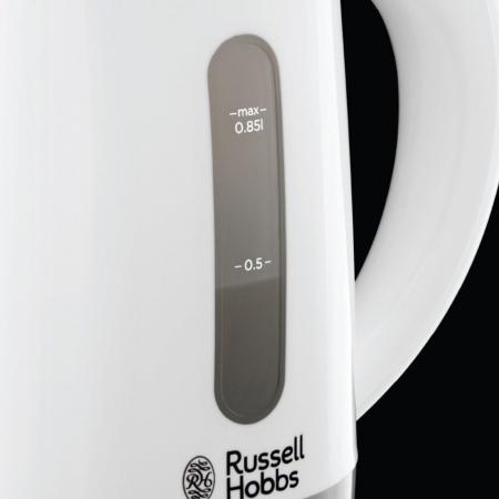 Fierbator compact de voiaj Russell Hobbs Travel 23840-70, 1000 W, 0.85 l, 2 cesti, 2 lingurite, Alb/Gri3