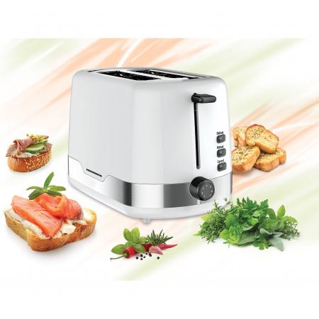 Prajitor de paine Heinner HTP-850WHSS, 850 W, 7 nivele de rumenire, 3 functii, Alb/Inox1