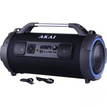 Boxa portabila cu trei difuzoare bazooka AKAI ABTS-13K cu BT , USB, Micro SD card , FM Radio , Aux-in 3.5mm ,Functie Karaoke ,Baterie reincarcabila, Lumini Led , Maner aluminiu2