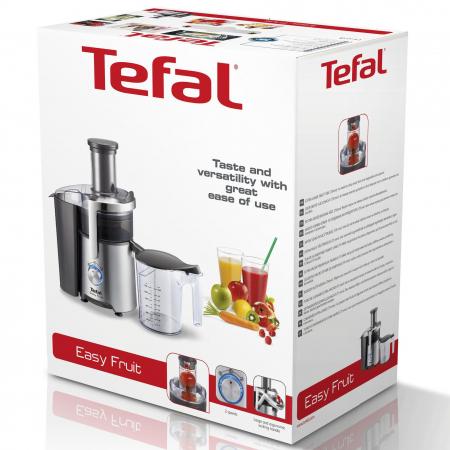 Storcator de fructe Tefal Easy Fruit ZE610D38, 800W, 2 viteze, Recipient pulpa 2l, Recipient suc 1.2l, Inox / Negru1