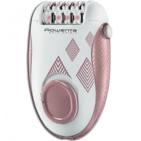 Epilator Rowenta Skin Spirit EP2900F0, 24 pensete, 2 reglaje de viteza, 2 accesorii, zone compatibile picioare si corp, Roz2