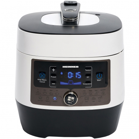 Multicooker cu gatire sub presiune Heinner HPCK-6WH, 3.3 L, 14 programe, vas antiadeziv detasabil, Timer, presiune reglabila, display LED, Alb [0]