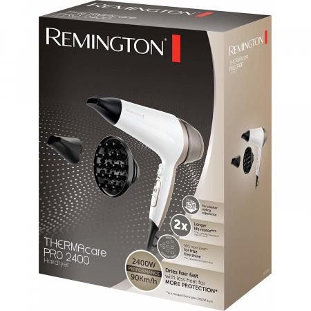 Uscator de par Remington Thermacare Pro 2400 D5720 2200 W, Generator de ioni, 3 trepte de temperatura, 2 viteze, Alb1