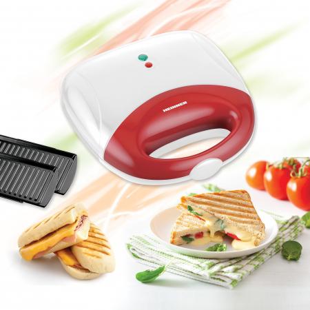 Sandwich maker Heinner SM-700WHR, 750 W, placi antiadezive fixe tip grill, 2 sandwich-uri, Alb/Rosu2