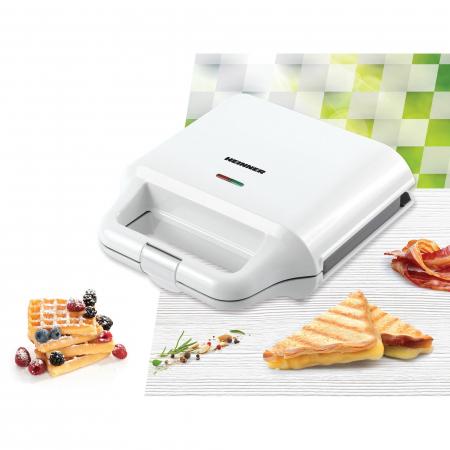 Sandwich maker Heinner SM-2H700WH, 700 W, 2 placi detasabile antiadezive: waffle, grill, Alb2