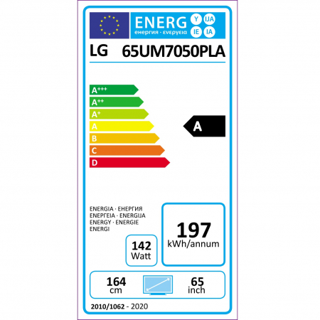 Televizor LG 65UM7050PLA, 164 cm, Smart, 4K Ultra HD, LED, Clasa A11