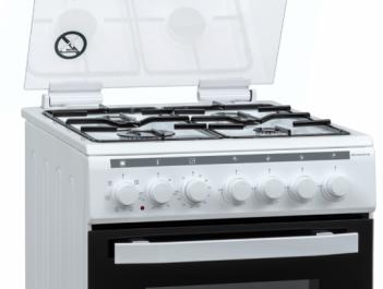 Aragaz mixt Heinner HFSC-V60LITGC-WH, 4 arzatoare gaz, Dispozitiv de siguranta plita, Aprindere electrica, Cuptor electric, Timer, Grill, Clasa A, 50 cm, Alb2