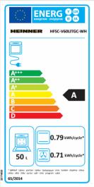 Aragaz mixt Heinner HFSC-V60LITGC-WH, 4 arzatoare gaz, Dispozitiv de siguranta plita, Aprindere electrica, Cuptor electric, Timer, Grill, Clasa A, 50 cm, Alb1