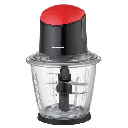 Tocator de legume Heinner, bol sticla 1.5L, 3 cutite din inox, angrenaj metalic, baza anti-alunecare, sistem de siguranta, putere: 500W, culoare negru cu rosu0