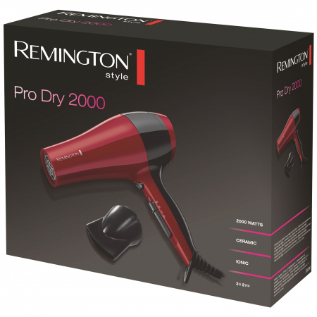 Uscator de par Remington D3080, 2000 W, Functie Ionica, Rosu1
