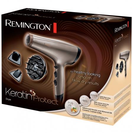 Uscator de par Remington Keratin Protect AC8002, 2200W, 3 trepte temperatura, 2 viteze, Cool Shot, 2 concentratoare, Difuzor volum, Auriu1
