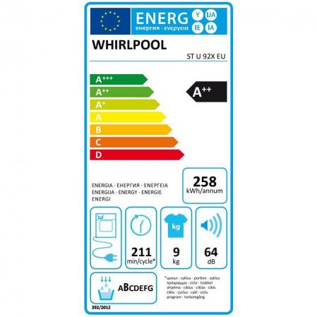 Uscator de rufe Whirlpool Supreme Care STU92XEU, Pompa de caldura, 9 kg, Clasa A++, Motor Inverter, 6th Sense, Display digital, Alb [9]